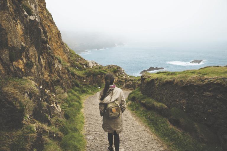 walking down a path
